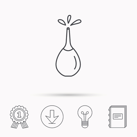 enema: Medical clyster icon. Enema with water drops sign. Download arrow, lamp, learn book and award medal icons.