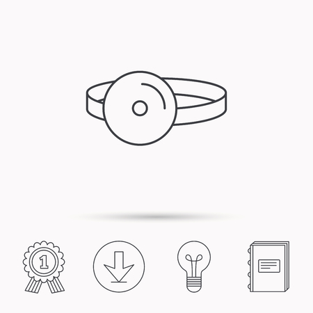 otorhinolaryngology: Medical mirror icon. ORL medicine sign. Otorhinolaryngology diagnosis tool symbol. Download arrow, lamp, learn book and award medal icons.