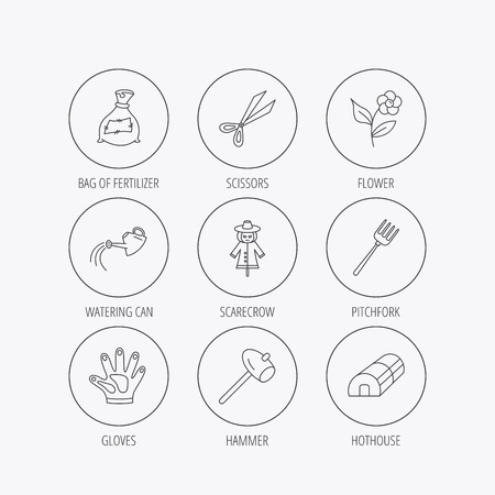 hothouse: Hammer, hothouse and watering can icons. Bag of fertilizer, scissors and flower linear signs. Hammer, scarecrow and pitchfork flat line icons. Linear colored in circle edge icons.