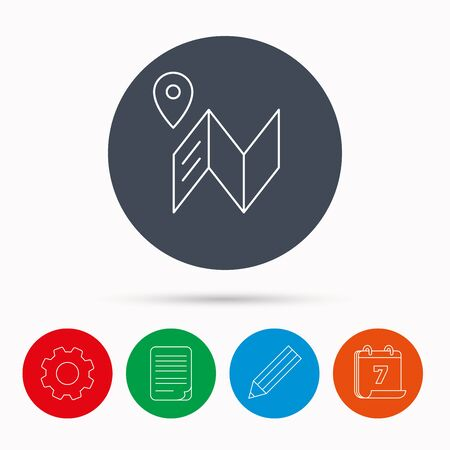 map pencil: Map icon. GPS navigation with pin sign. Calendar, cogwheel, document file and pencil icons.