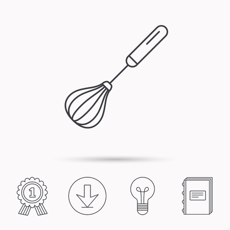 whisking: Whisk icon. Kitchen tool sign. Kitchenware whisking beater symbol. Download arrow, lamp, learn book and award medal icons.