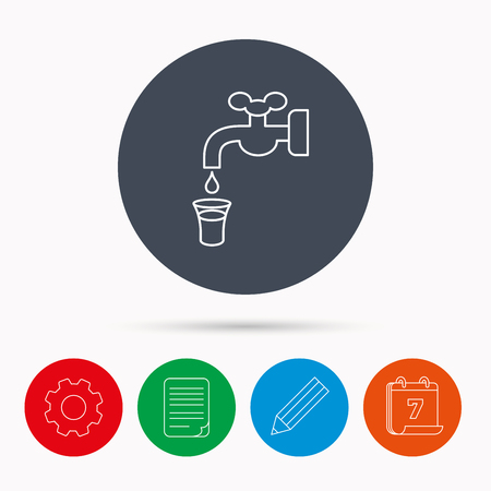 waterworks: Save water icon. Crane or Faucet with drop sign. Calendar, cogwheel, document file and pencil icons.