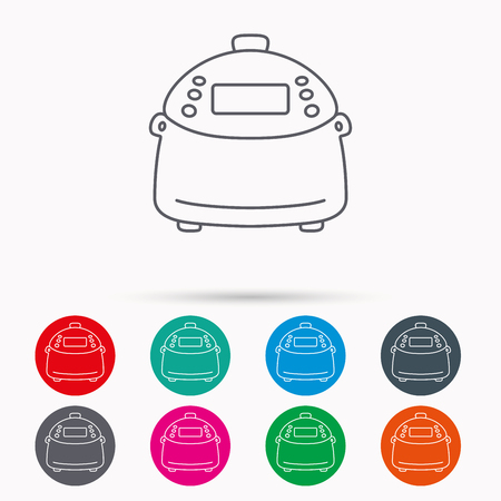 kitchen device: Multicooker icon. Kitchen electric device symbol. Linear icons in circles on white background.