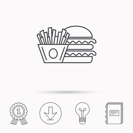 american downloads: Burger and fries icon. Chips, sandwich sign. Hamburger fast food symbol. Download arrow, lamp, learn book and award medal icons.