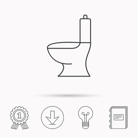 wc sign: Toilet icon. Public WC sign. Download arrow, lamp, learn book and award medal icons.