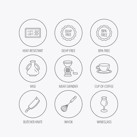 butcher knife: Coffee cup, butcher knife and wineglass icons. Meat grinder, whisk and vase linear signs. Heat-resistant, DEHP and BPA free icons. Linear colored in circle edge icons.