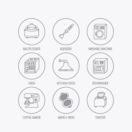 coffee blender: Dishwasher, washing machine and blender icons. Kitchen hood, coffee maker and toaster linear signs. Oven, multicooker and waffle-iron icons. Linear colored in circle edge icons. Illustration