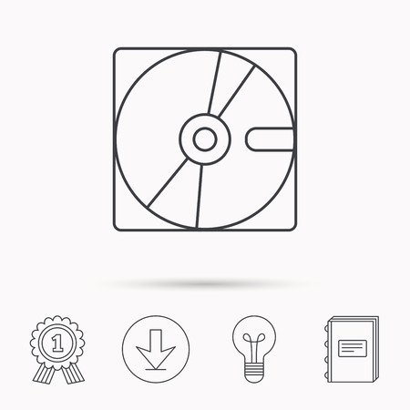sata: Harddisk icon. Hard drive storage sign. Download arrow, lamp, learn book and award medal icons. Illustration