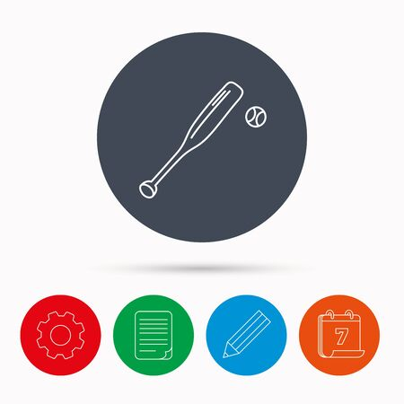 professional sport: Baseball bat with ball icon. Professional sport equipment sign. Calendar, cogwheel, document file and pencil icons.