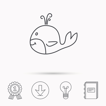 cetacea: Whale icon. Largest mammal animal sign. Baleen whale with fountain symbol. Download arrow, lamp, learn book and award medal icons.