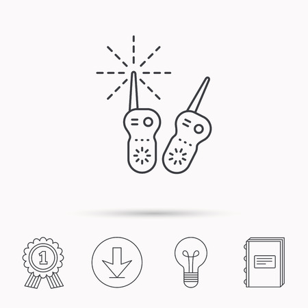 nanny: Baby monitor icon. Nanny for newborn sign. Radio set symbol. Download arrow, lamp, learn book and award medal icons.