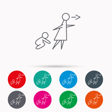child care: Unattended baby icon. Babysitting care sign. Do not leave your child alone symbol. Linear icons in circles on white background.