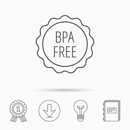 bpa: BPA free icon. Bisphenol plastic sign. Download arrow, lamp, learn book and award medal icons.