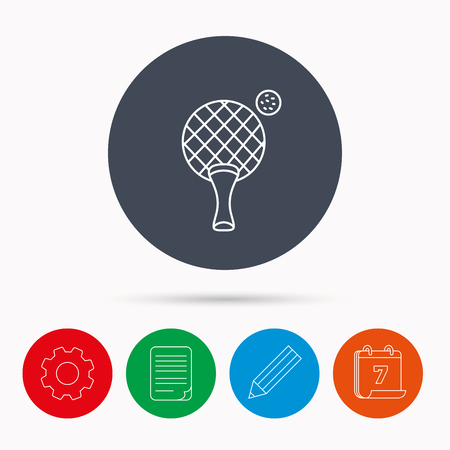 document file: Table tennis icon. Ping pong sign. Professional sport symbol. Calendar, cogwheel, document file and pencil icons.