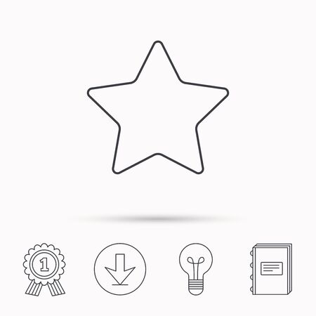 favorites: Star icon. Add to favorites sign. Astronomy symbol. Download arrow, lamp, learn book and award medal icons.