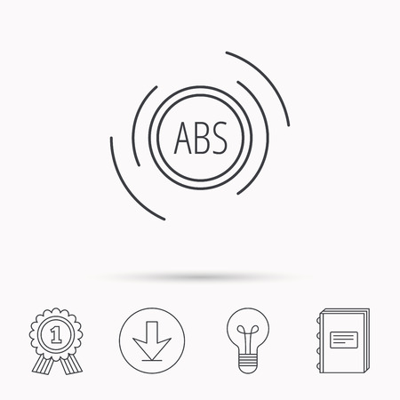 abs: ABS icon. Brakes antilock system sign. Download arrow, lamp, learn book and award medal icons.