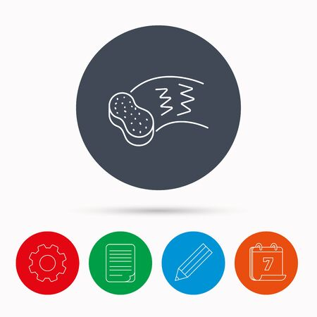document file: Hand wash icon. Cleaning sponge sign. Calendar, cogwheel, document file and pencil icons. Illustration