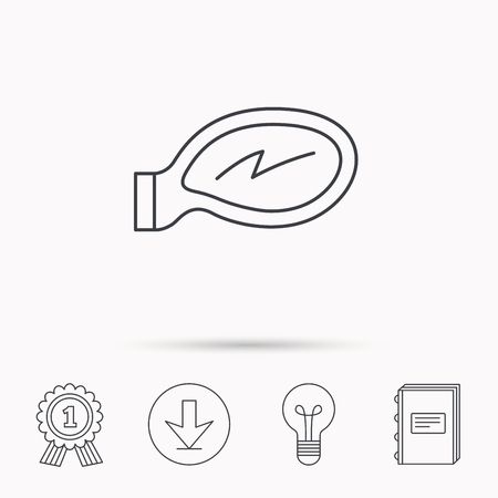 remote view: Car mirror icon. Driveway side view sign. Download arrow, lamp, learn book and award medal icons.