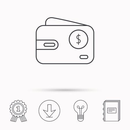 cash book: Dollar wallet icon. USD cash money bag sign. Download arrow, lamp, learn book and award medal icons.