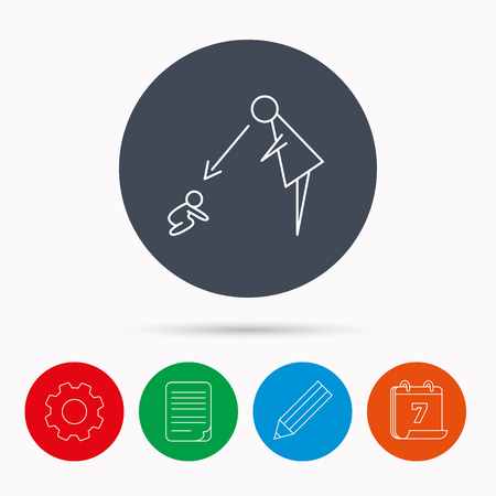 nanny: Under nanny supervision icon. Babysitting care sign. Mother watching baby symbol. Calendar, cogwheel, document file and pencil icons.