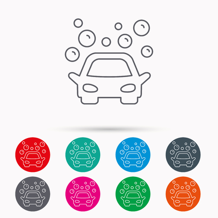 foam bubbles: Car wash icon. Cleaning station sign. Foam bubbles symbol. Linear icons in circles on white background.