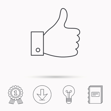 medal like: Thumb up like icon. Super cool vote sign. Social media symbol. Download arrow, lamp, learn book and award medal icons.
