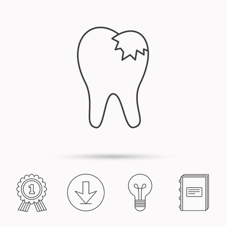 restoration: Dental fillings icon. Tooth restoration sign. Download arrow, lamp, learn book and award medal icons.