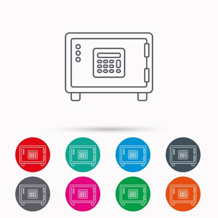 combination lock: Safe icon. Money deposit sign. Combination lock symbol. Linear icons in circles on white background. Illustration