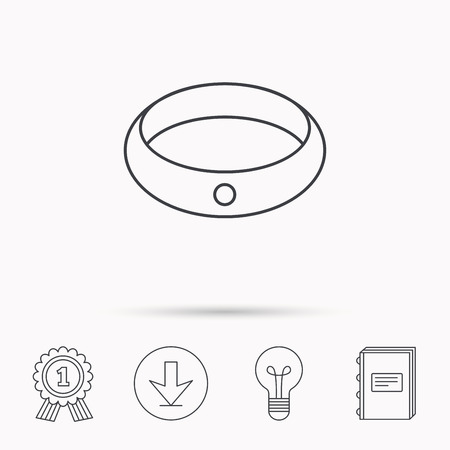 jewelery: Diamond engagement ring icon. Jewelery sign. Download arrow, lamp, learn book and award medal icons.