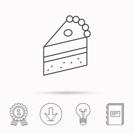 piece of cake: Piece of cake icon. Sweet dessert sign. Pastry food symbol. Download arrow, lamp, learn book and award medal icons.