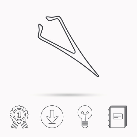 aesthetic: Eyebrow tweezers icon. Cosmetic equipment sign. Aesthetic beauty symbol. Download arrow, lamp, learn book and award medal icons.