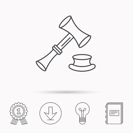 Auction hammer icon. Justice and law sign. Download arrow, lamp, learn book and award medal icons. Ilustração