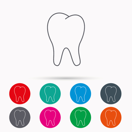 Tooth icon. Stomatology sign. Dental care symbol. Linear icons in circles on white background. Illustration