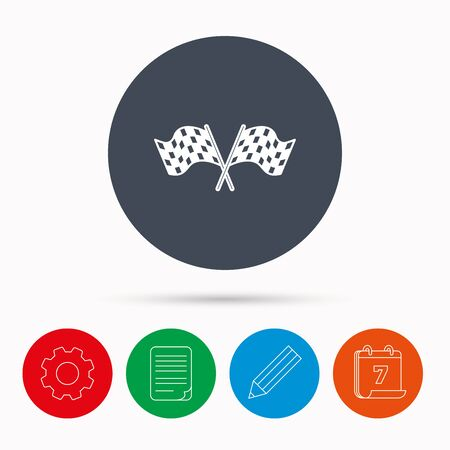 Crosswise racing flags icon. Finishing symbol. Calendar, cogwheel, document file and pencil icons. Illustration