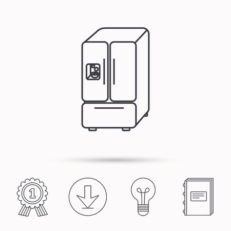 icebox: American fridge icon. Refrigerator with ice sign. Download arrow, lamp, learn book and award medal icons.