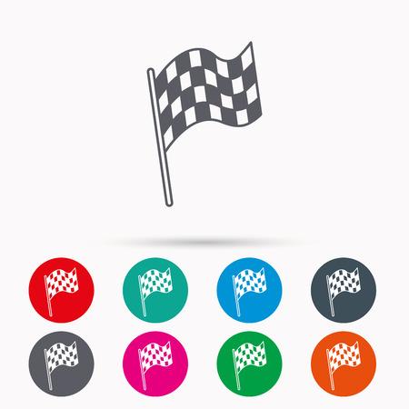 Finire l'icona della bandiera. Inizia il segno della gara. Icone lineari nei circoli su sfondo bianco.