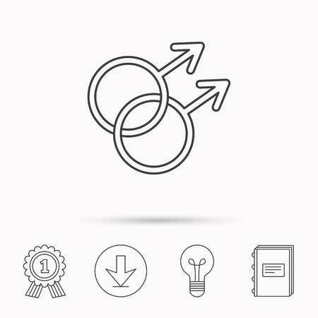 Gay couple icon. Homosexual sign. Download arrow, lamp, learn book and award medal icons. Illustration