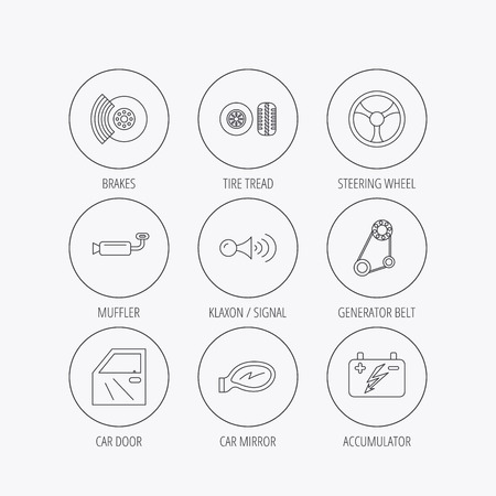 brakes: Accumulator, brakes and steering wheel icons. Generator belt, klaxon signal and car mirron linear signs. Door icon. Linear colored in circle edge icons. Illustration