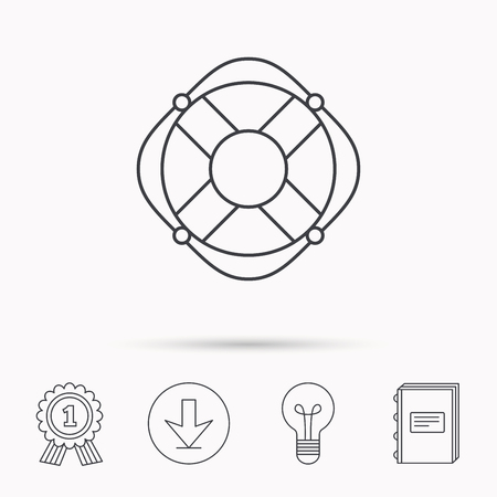 lifesaver: Lifebuoy with rope icon. Lifebelt sos sign. Lifesaver help equipment symbol. Download arrow, lamp, learn book and award medal icons. Illustration
