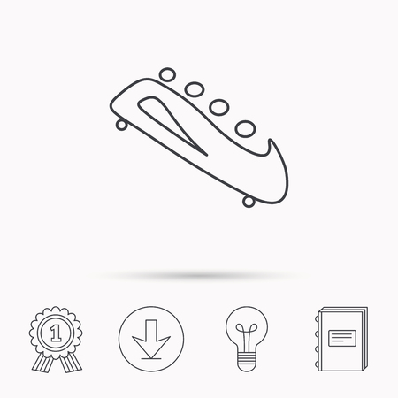 bobsleigh: Bobsleigh icon. Four-seated bobsled sign. Professional winter sport symbol. Download arrow, lamp, learn book and award medal icons. Illustration