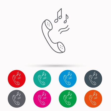 Phone icon. Call ringtone sign. Linear icons in circles on white background.