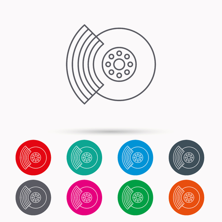 overhaul: Brakes icon. Auto disk repair sign. Linear icons in circles on white background. Illustration