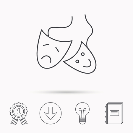 masquerade masks: Theater masks icon. Drama and comedy sign. Masquerade or carnival symbol. Download arrow, lamp, learn book and award medal icons.