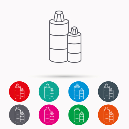 shampoo bottles: Shampoo bottles icon. Liquid soap sign. Linear icons in circles on white background.