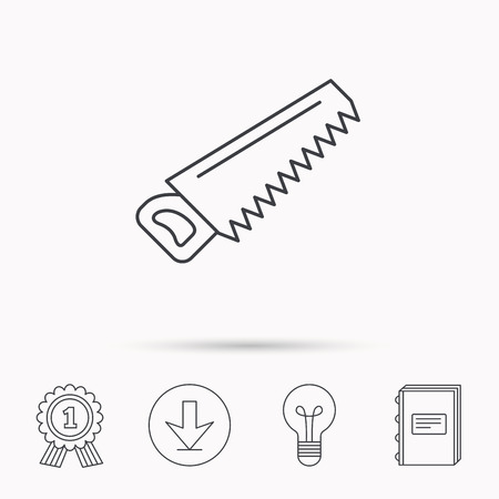 crosscut: Saw icon. Carpentry equipment sign. Hacksaw symbol. Download arrow, lamp, learn book and award medal icons.