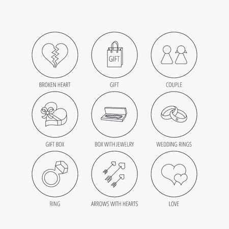 amour: Love heart, gift box and wedding rings icons. Broken heart and couple linear signs. Valentine amour arrows flat line icons. Linear colored in circle edge icons.
