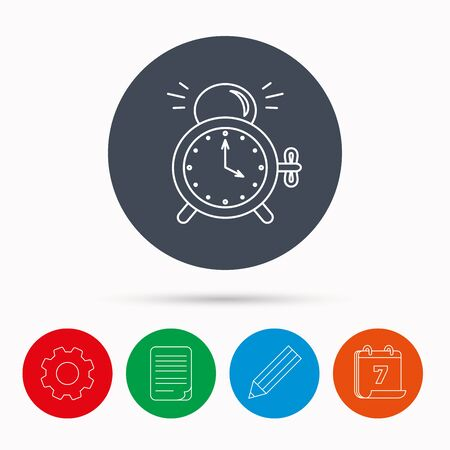 Alarm clock icon. Mechanical retro time sign. Watch with bell symbol. Calendar, cogwheel, document file and pencil icons.