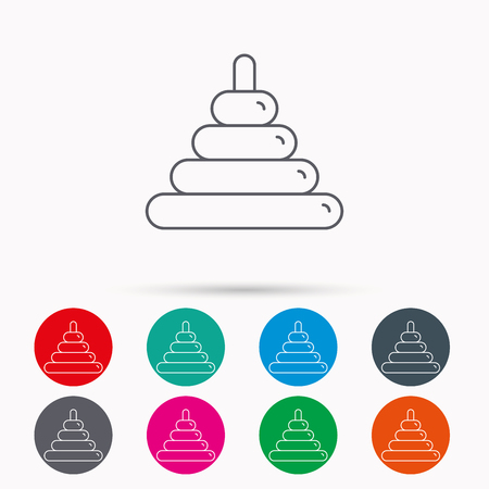 Pyramid baby toy icon. Child tower game sign symbol. Linear icons in circles on white background.
