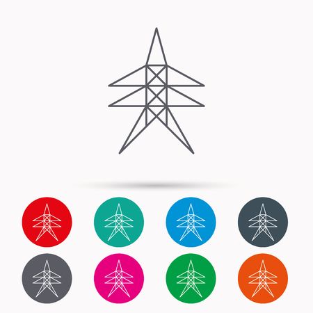 Electricity station icon. Power tower sign. Linear icons in circles on white background.