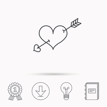 amour: Love heart icon. Amour arrow sign. Download arrow, lamp, learn book and award medal icons. Illustration